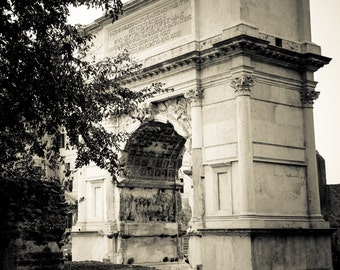 Rome Italy Roman Forum - Black and White Sepia Fine Art Photograph - Arch of Titus Reverse