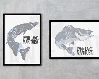 Custom Animal Map Art, Map Art, Maps, Manitoba, Canada, Lakes, Rivers, Map Art, Custom Art, Custom Map
