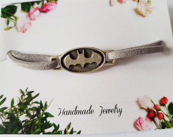 Batman bracelet, grey bracelet custom length, superhero bracelet