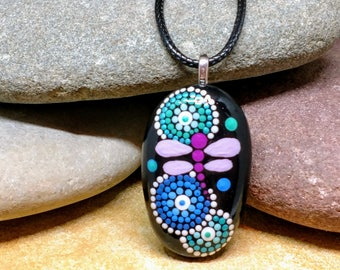 Hand painted dot art dragonfly stone pendant