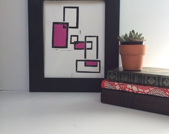 Minimalist Contemporary Geometric abstract squares monoprint 8 x 10 in black and magenta Mondrian style