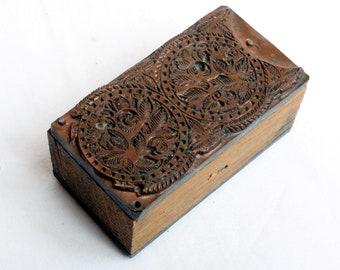 ROSES & Bubbles 1903-1953 Antique GERMAN Copper Letterpress Cut printing block DOUBLE Sided Circles Flowers
