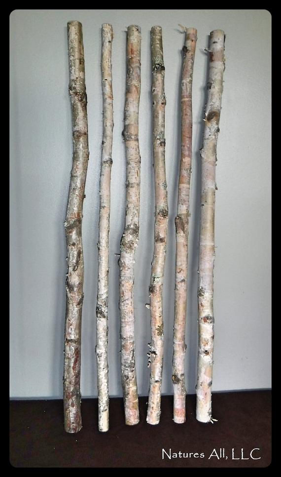 White Birch Sticks/Decorative White Birch/ 6 PC/3 Ft. Lengths/White Birch Pole/Rustic Wedding And Home Decor