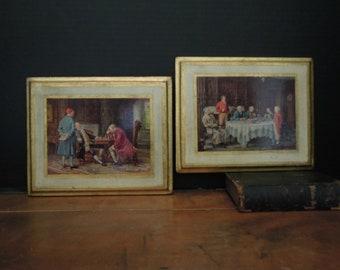 Vintage Italian Florentine Wood  Plaque Pictures / Italian Wall Plaque / English Gentlemen Country Scenes