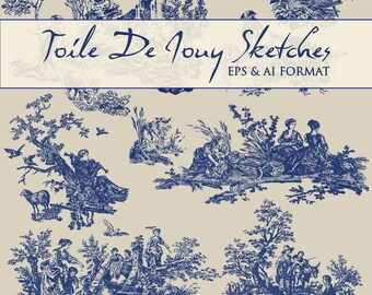10 EPS Toile De Jouy Vector Sketches Plus AI Printing Toile Sketches
