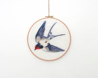 Swallow Wall Art, Swallow Embroidery Hoop, Needle Felted Bird, Wool Painting, Hanging, Bird Hoop Art, Fibre Art, Textile Art, Wall Decor