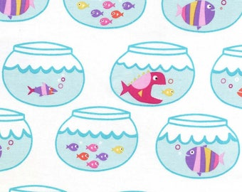 Purple Mermaid Fish Swimming In Circles 100% Cotton from Michael Miller Fabric's Mer-Mates Collection