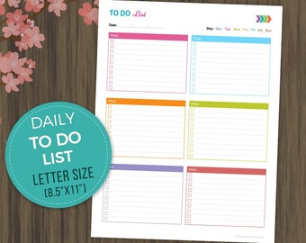 "To Do List Printable, Todo Planner, To Do List Notebook, Daily Checklist, Daily ToDo, Daily Planner, Daily Schedule, Letter Size, 8.5""x11"""