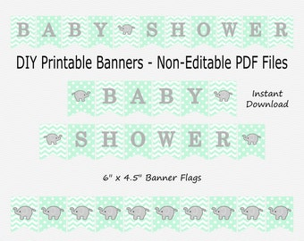 Baby Shower Banner - Mint Green & Grey - Elephant - Little Peanut - Baby Shower - PRINTABLE - INSTANT DOWNLOAD