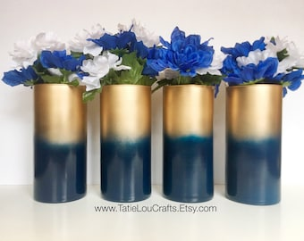 4 Ombre Vases, Wedding Centerpieces, Bridal Shower Centerpieces,Baby Shower Centerpiece,Flower Vase,Birthday Centerpiece, Blue & Gold Vases.