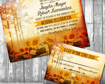 Fall Autumn Wedding Invitation and RSVP Professionally Printed Rustic Sunflower wedding stationery forest landscape scenic