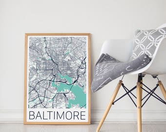 Baltimore Map Poster/Baltimore Map Print/Baltimore City Print/Baltimore City Map/Baltimore Map Art/Baltimore Gift/Baltimore Print/Baltimore