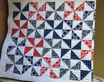 Baby/ Toddler Pinwheel Quilt Featuring Various Nautical Fabrics in Reds & Blues, Ready to Ship!