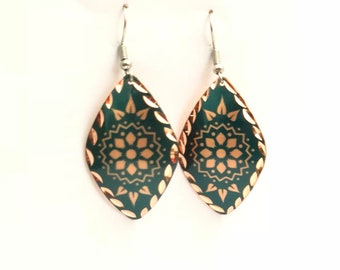 Green Earrings / light earrings /  Copper earrings / Bohemian Earrings /  Drop Earrings / tribal earrings / light earrings / rustic Jewelry