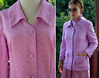 French Lavender 1960's 70's Vintage Geometric Polyester Blazer Jacket size Medium // Diamonds