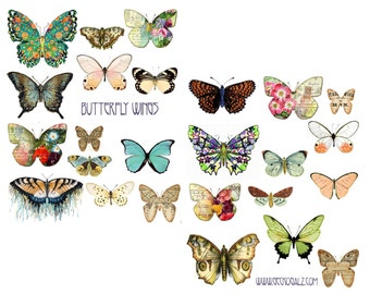 Butterfly Wings Digital Collage Set