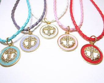 PENDANT Nautical Anchor Necklaces Enamelled Pendants With Rhinestone Crusted Anchors and Matching Choker Style Necklace Gift For Her JEWELRY