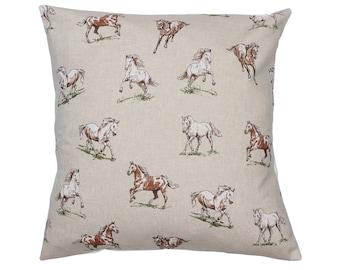 Horses Countryside Animal Print Cushion Cover