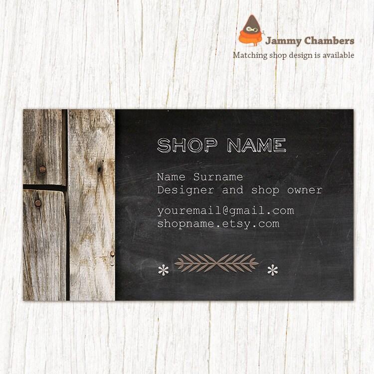 Custom Business Card Thank you note Rustic Wood Chalkboard