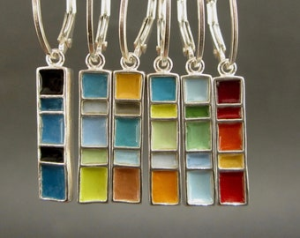 New Century Modern Earrings - Reversible Silver and Enamel Lever Back Enamel Earrings in Three Color Options