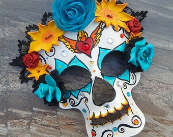 Leather Sugar Skull Mask with Sacred Heart - IN STOCK - Black Lace Headdress withLeather Roses - Dia de los Muertos, Day of the Dead Costume