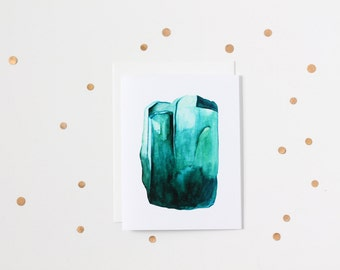 Watercolour Emerald Gemstone Blank Greeting Card
