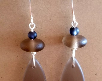 Smokey Topaz Beach Glass Earrings