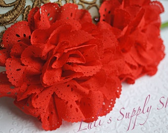 2 Red Eyelet Flower - Fabric Flower - Vintage Chiffon Flower - Lace rose - Wholesale flowers - Lace Flower - Eyelet Fabric Flower