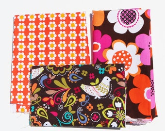 A1 - Fabric Destash Scrap Pack - retro 70s brady bunch