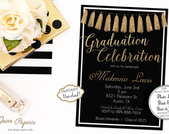 INSTANT DOWNLOAD - Graduation Invitation Black and Gold Glitter - Class of 2017 - Gold Tassel Invite - Open House - High School Graduation