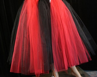 Gothic Red Black Tulle skirt Floor length Adult tutu stripe petticoat gothic bridal wedding Harley - You Choose Size - Sisters of the Moon