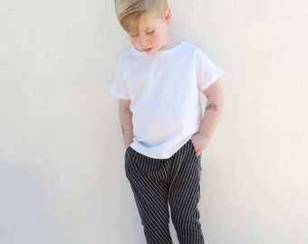 Black Stripe Harem Pants | Boys Girls Harem Pants | Baby Toddler Harem Pants | Unisex Harem Pants | Spring Summer Pants Kids - By PetitWild