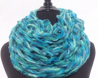 Infinity Scarf in Turquoise Blue and Green