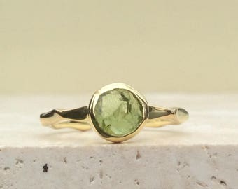Raw Stone Ring, US 8, Raw Peridot Ring, Gold Vermeil Ring, Rough Natural Gemstone, Rough Peridot Ring, Natural Peridot Gemstone Gold Ring