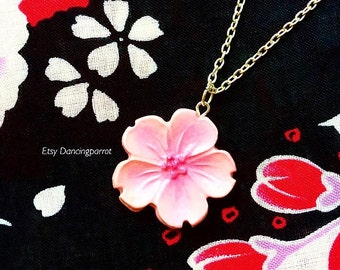 Handmade sakura necklace Cherry blossom necklace Pink sakura necklace Kawaii Cute Flower necklace Yukata Kimono Japan style flower jewelry