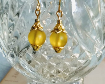 Lemon Yellow Dangle Earrings ~ Yellow Dangle Earrings