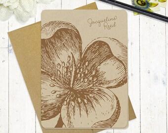 personalized note cards stationery set - APPLE BLOSSOM - set of 8 folded cards - kraft stationary - flower - floral - botanical