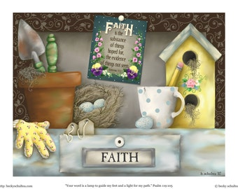 INSTANT DOWNLOAD Printable Scripture Illustration - Potting Shed Still Life - Growing by Faith Hebrews 11:1