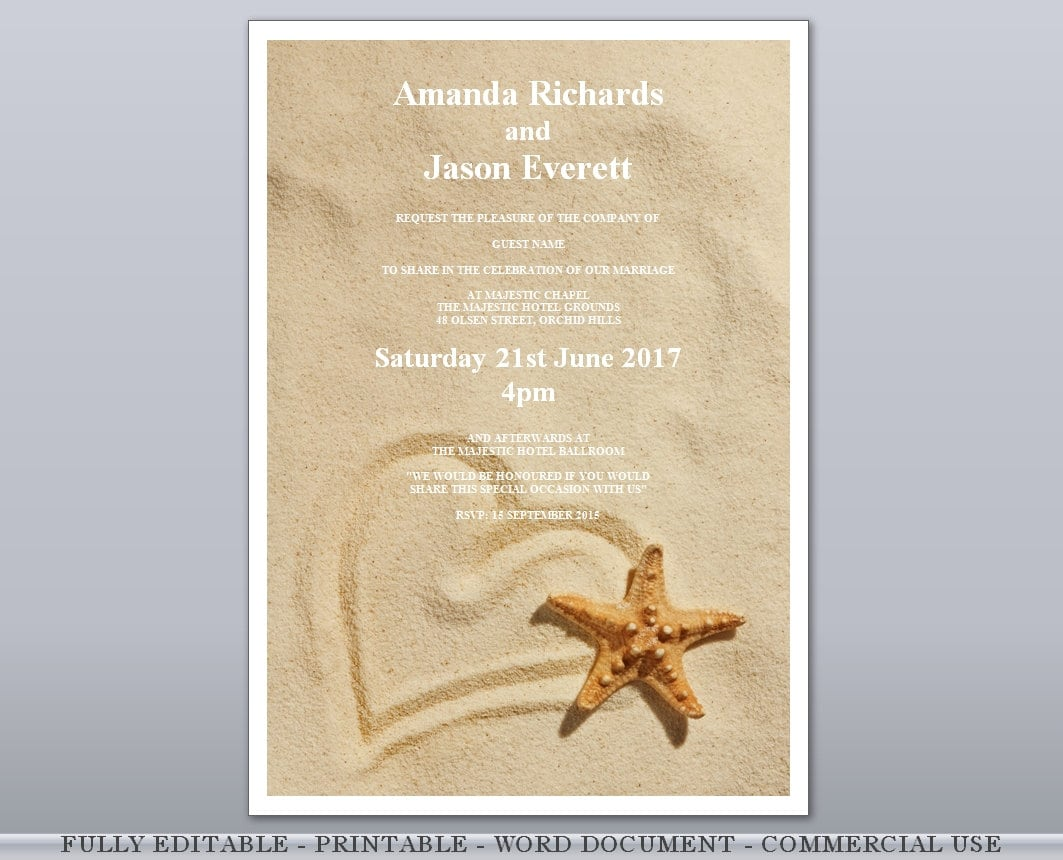 Heart in Sand Starfish Beach Editable Printable Wedding