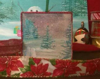 Christmas tree ornament decoration snowmen winter scene holiday acrylic art
