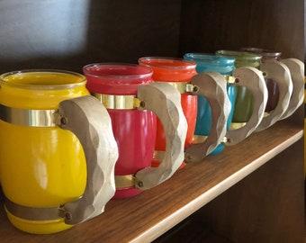 Vintage Siesta Ware Multicolor Frosted Wooden Handle Barrel Mugs Set of six/Drinking Glasses/Barware/Vintage Kitchen/Tiki Bar/retro