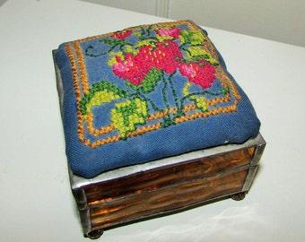 cross stitch and glass jewelry trinket box