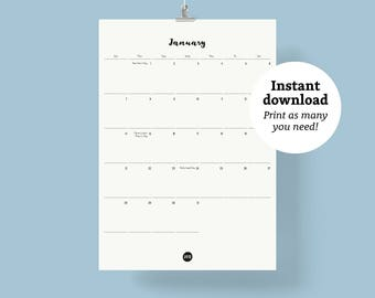Monthly Wall calendar 2018 | Size A3 | Instant Download