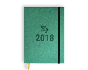 Agenda My 2018 - vert + 3 planches de stickers