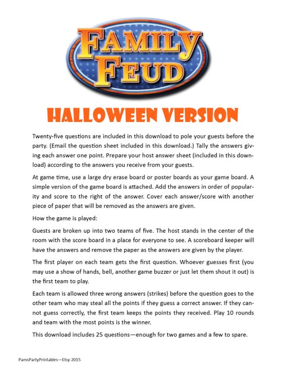 Halloween Family Feud Printable Game Halloween Party Game
