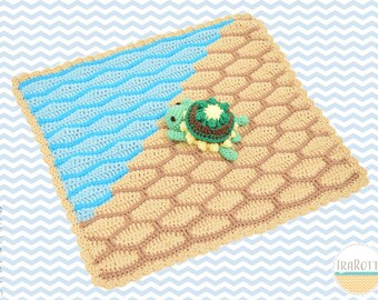 CROCHET PATTERN - Bubbles The Turtle Security Blanket Lovey Crochet PDF Pattern with Instant Download