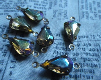 Smoky Topaz AB 13x8mm Vintage Glass Pear Rhinestone Brass Ox Earring Drops or Connectors 6 Pcs