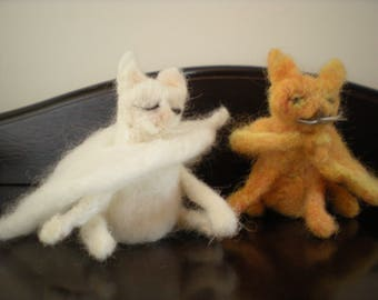 Two needle felted cats go out for the evening