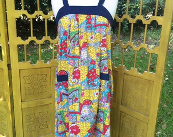 60s sun dress, tent trapeze dress, big pockets and mosiac print, XS S M