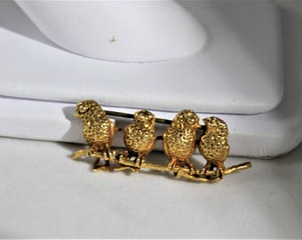 Bird on a wire Pin 14k gold